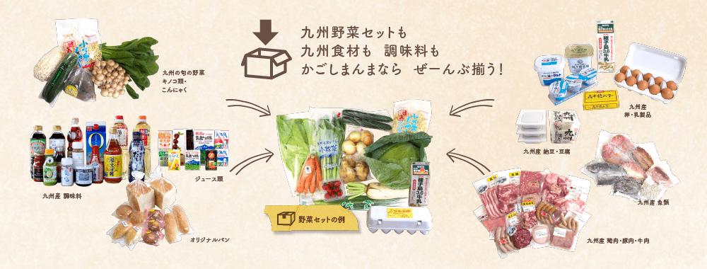 九州野菜セット、九州食材、調味料取り扱い